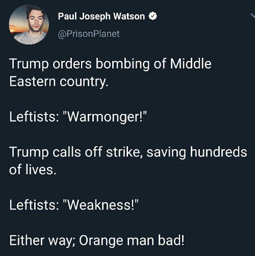 trump orders bombing war monger calls off strikes weakness orange man bad