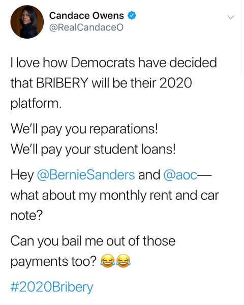 tweet candace owns democrats declared bribery 2020 platform