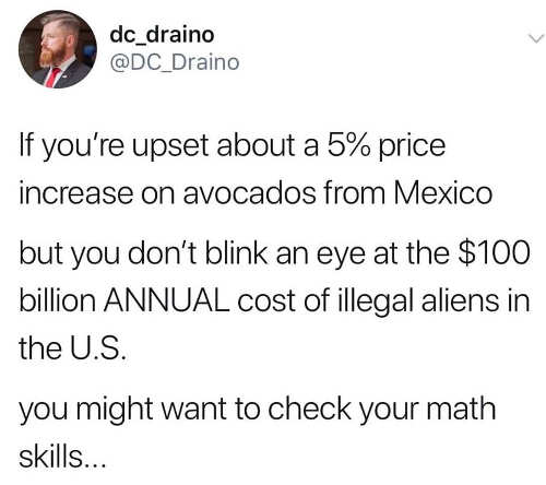 tweet if upset about 5 percent increase on avocados but not 100 billiion illegal aliens check your math