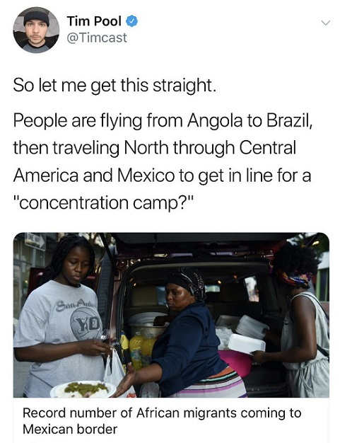 tweet so people flying from angola to brazil through central america for concentration camp