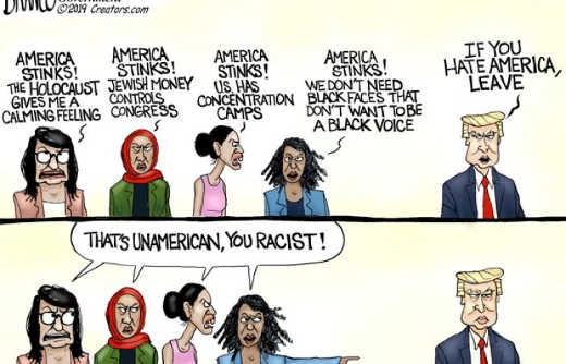 aoc omar tlaib squad hating america trump just leave that is racist