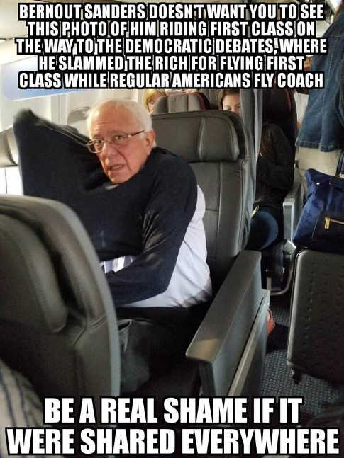 bernie sanders picture of him flying first class