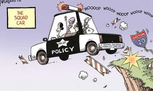 democrat squad car driving democrats off cliff