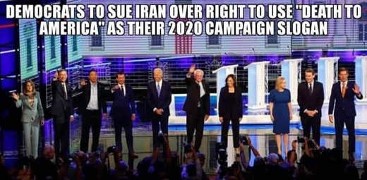 democrats to sue iran over right to use death to america 2020 campaign