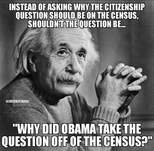 einstein instead of asking why citizenship question not on census why did obama take off