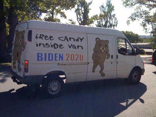 free candy inside van biden 2020