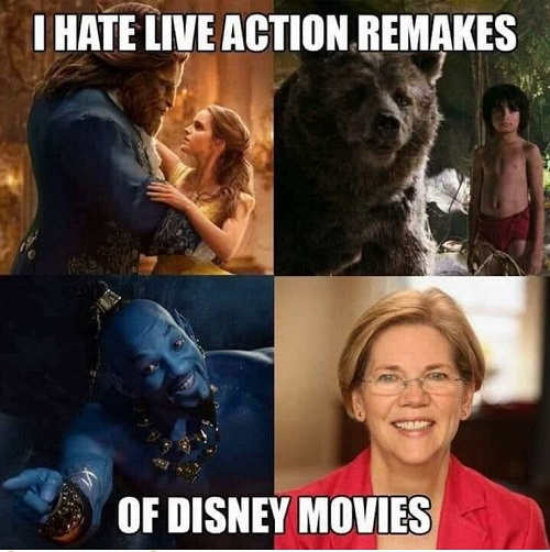 i hate live action remakes of disney movie elizabeth warren pocahantas