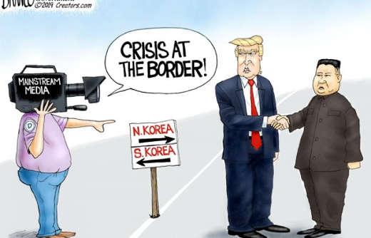 mainstream media crisis at north korea border kim trump