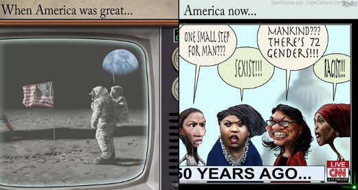 one small step for man today racist sexist aoc omar tlaib pressley