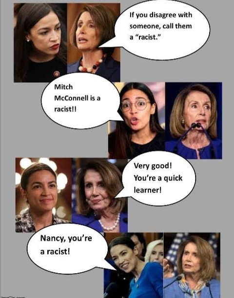 pelosi if you disagree with someone call them a racist aoc very good quick learner