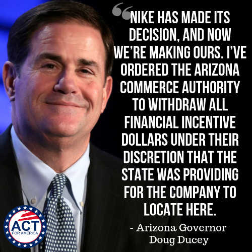 quote arizona governor pulling nike incentives ducey