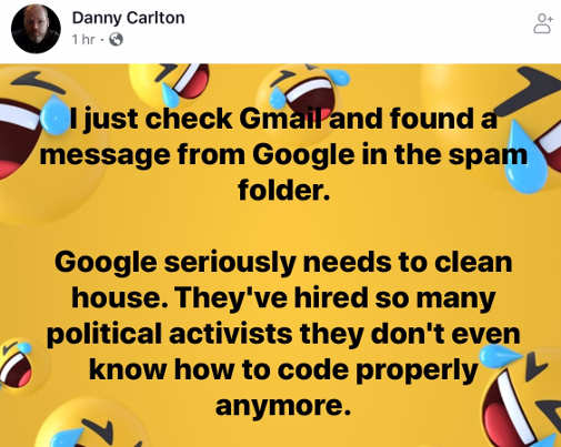 quote just checked gmail message from google in spam so focused on politics cant program anymore