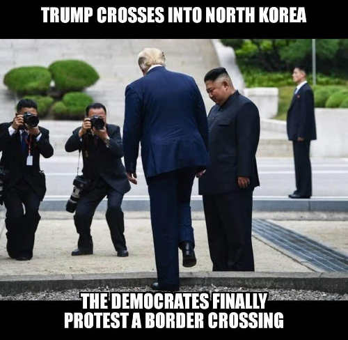 trump kim cross into north korea democrats finally protest border crossing