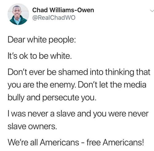 tweet chad williams own dear white people ok to be white