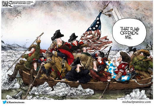 washington crossing river kaepernick offended by flag floaty