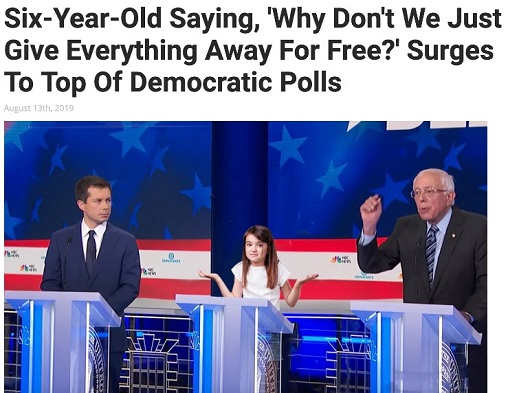 6 year old why dont we give everything for free surges to top of democratic polls