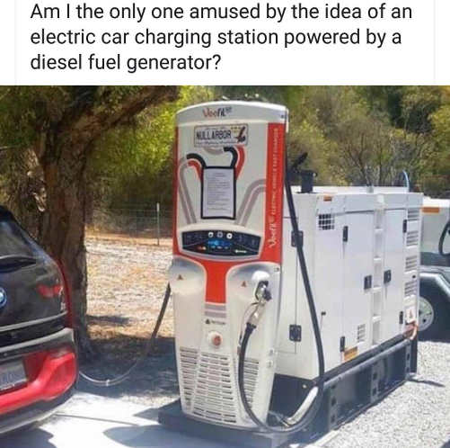 am i only one amused by idea of electric car charging station powered by diesel fuel generator