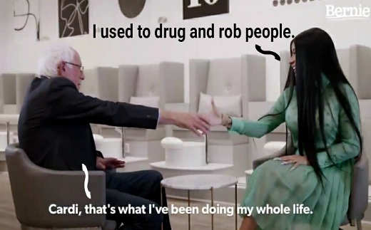bernie sanders cardi b i used to drug and rob people ive been doing my whole life