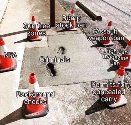 criminals walking through cement orange cones background checks red flag