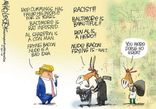democrats disagreeing anything trump says baltimore sharpton bacon