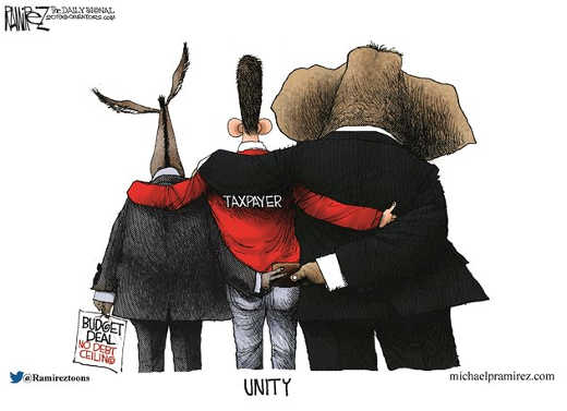 democrats republicans together stealing wallet taxpayer