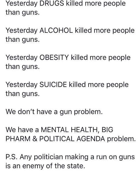 drugs alchohol obsesity suicide killed more people than guns mental health political agenda problem
