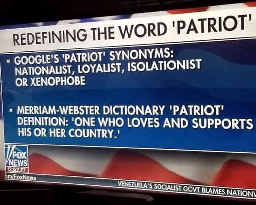 google vs merriam dictionary definition of patriot
