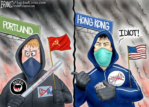 hong kong pointing out idiot portland antifa