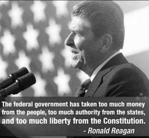 quote reagan government taken too much money authority liberty from constitution