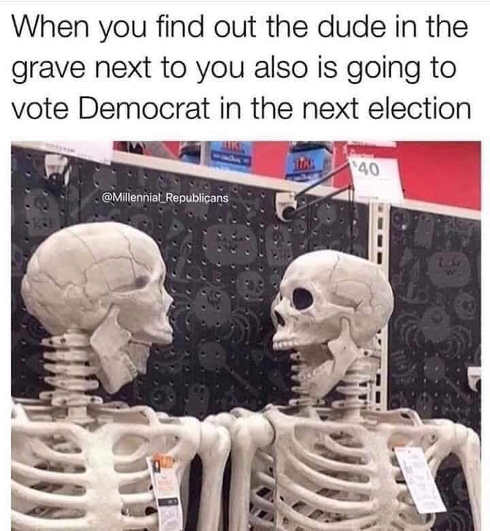 skeletons when you find dude in grave next to you also voting democrat in next election