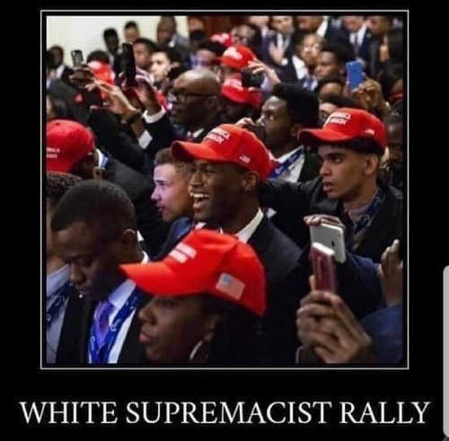 trump maga hats blacks white supremacist rally