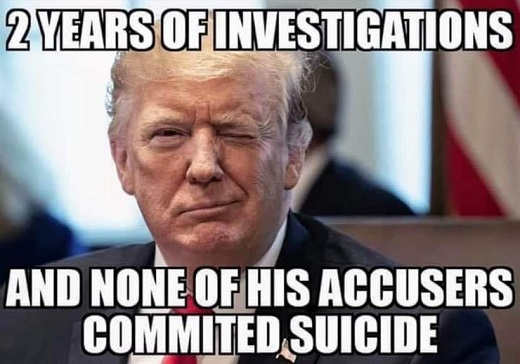 trump two years of investigations none of his accusers committed suicide