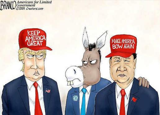 trump vs democrats make america bow to china again