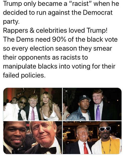 trump was loved by black celebrities only became racist after ran against democrat