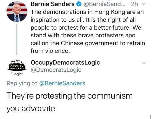 tweet bernie sanders demonstrations hong kong theyre protesting your communist policies