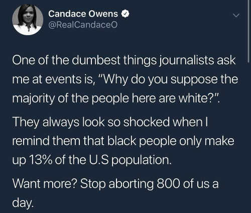 tweet candace owens dumbest journalists why majority people here white