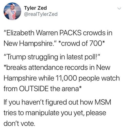tweet elizabeth warren packed crowd 700 people trump struggling 11000 attend rally mainstream media