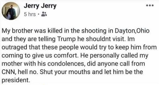 tweet jerry brother killed in dayton cnn telling trump shouldnt visit