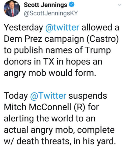 tweet scott jennings castro publishing trump donors twitter suspends mitch mcconnell account