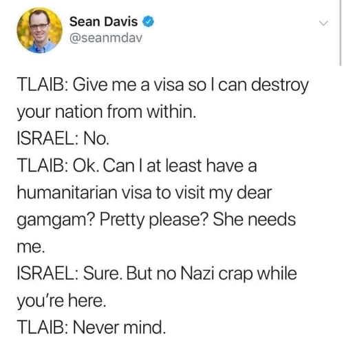 tweet sean davis tlaib grandma israel nazi crap