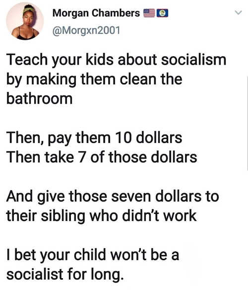 tweet teach kids about socialism clean bathroom for 10 take 7 give to sibling who didnt work for it