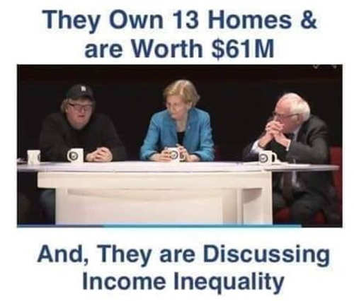 warren sanders moore own 13 homes worth 61 million discuss income inequality
