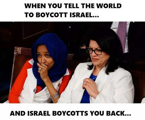 when you try to tell world to boycott israel and they boycott you tlaib omar