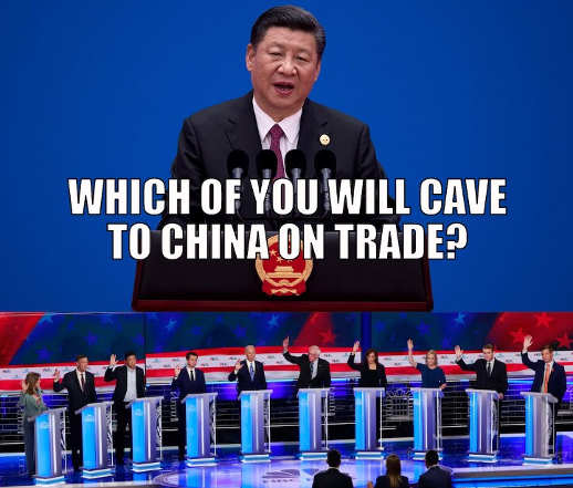 which of you democrats will cave to china on trade all raising hand
