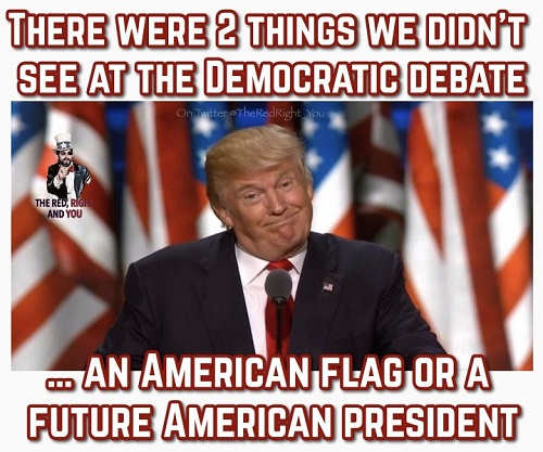 2 things didnt see at democratic debate american flag future president