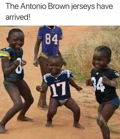 african kids celebrating antonio brown jerseys have arrived