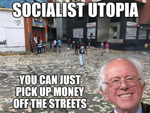 bernie sanders socialist utopia venezuela you can pick up money in streets