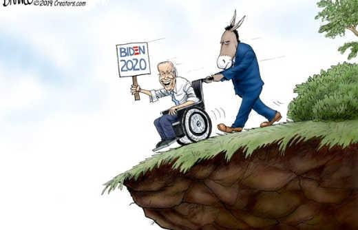 biden 2020 democrats push wheelchair off cliff