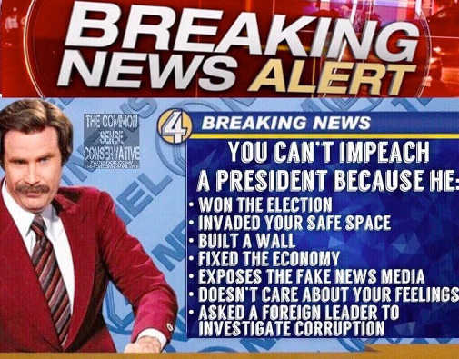 breaking news alert you cant impeach trump because won election invaded safe space built wall doesnt care about your feelings