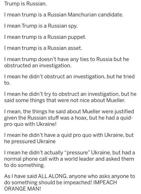 democrats trump russia ukraine logic orange man bad
